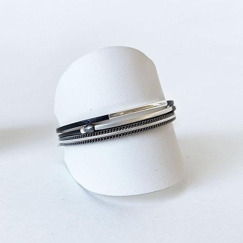 Bracelet Caracol, Cuir véritable, Tube, Noir, 3171-BLK