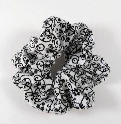 Élastique pour cheveux ''Janelle'' Chouchou, Arabesque, noir et blanc