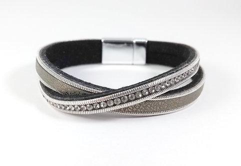 Bracelet Caracol, Bandes de cuirette-tissus, chaîne et cristaux,  ''X''