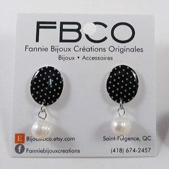Boucles d'oreille FNCO ''Pauline: pois noir et blanc''