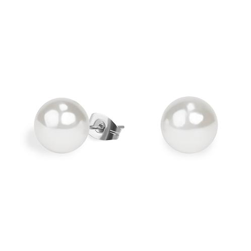 Boucles oreilles perle 10 mm, Acier inoxydable, Argenté
