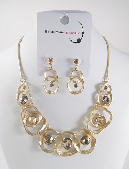 Ensemble collier et boucles d'oreille Spoutnik, Cercles or mat avec cristaux