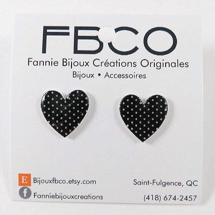 Boucles d'oreille FBCO ''Coeur noir''