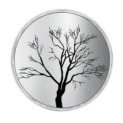 Bouton pression (Snap) Nomaad Interchangeable, Argenté miroir, Arbre