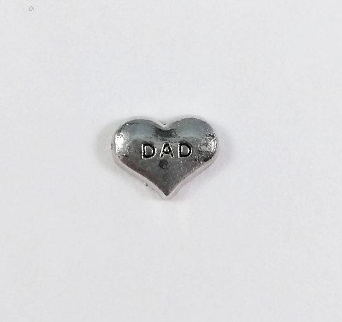 Figurine pour collier famille: Coeur ''Dad'' (papa)
