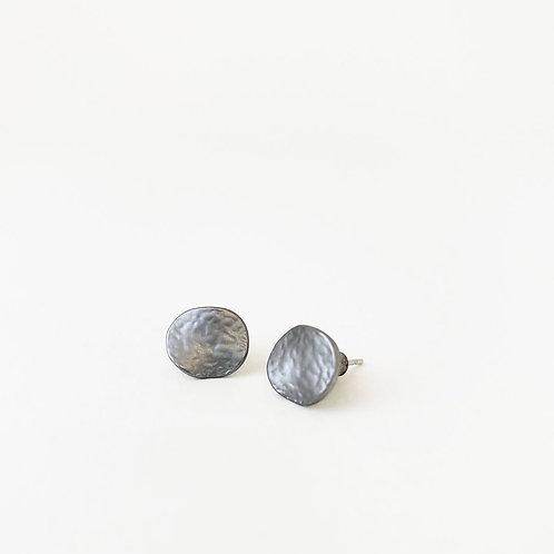 Boucles d'oreille Caracol, Pastilles métalliques texturées, Hématite, 2043-HEM