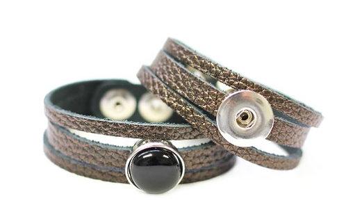 Bracelet en cuir bronze, Créart Interchangeable