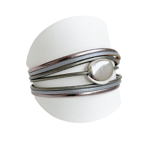 Bracelet Caracol, Cuir et bille, Gris, 3136-GRY