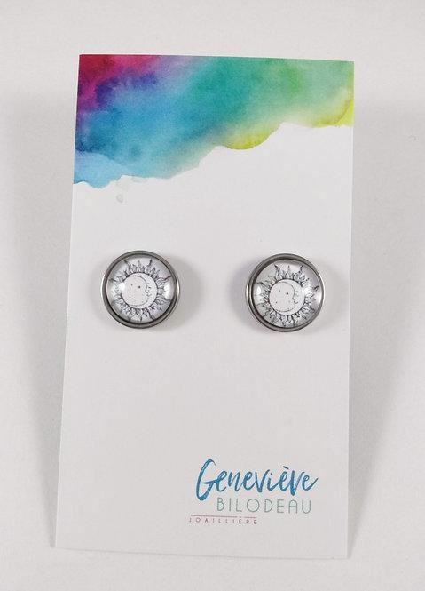 Boucles d'oreille GB Joaillière, 12mm, Soleil et lune