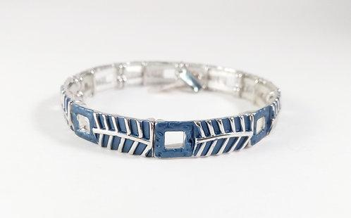 Bracelet Spoutnik élastique, Rectangle bleu, ligne argent