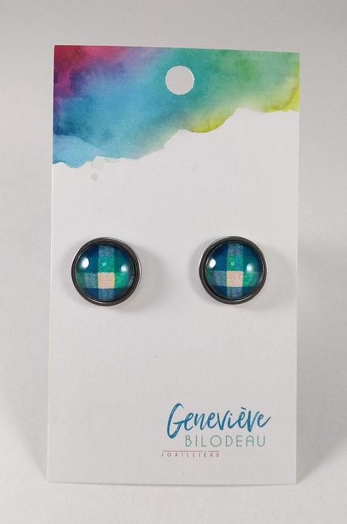 Boucles d'oreille GB Joaillière, 12mm, Carreaux bleu et vert