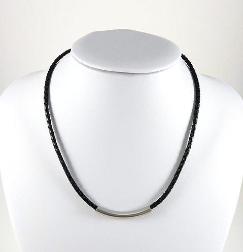 Collier GB, cuir tressé noir, tube acier inoxydable