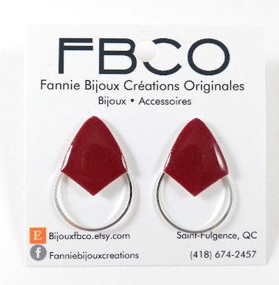 Boucles d'oreille FBCO ''Axies''  Bourgogne, Argent