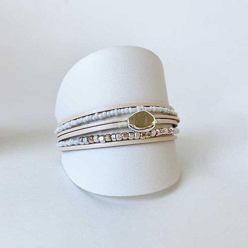 Bracelet Caracol, Cuir véritable, Beige, 3177-BGE