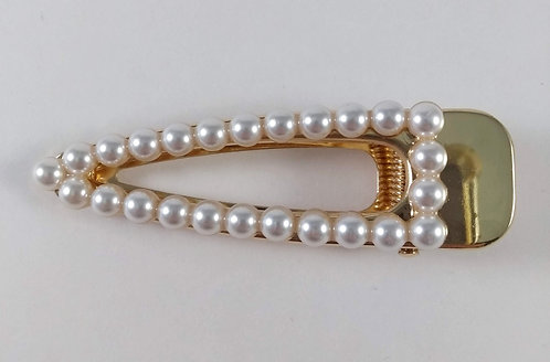 Grosse barrette-pince or avec perles blanches