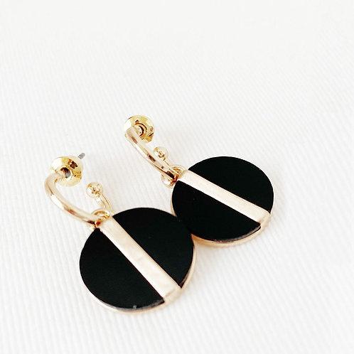 Boucles d'oreille Caracol, Résine noire, Or, 2407-BLK-G