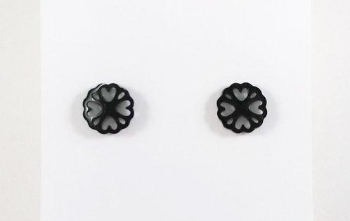 Boucles d'oreille acier inoxydable ''Mandala noire''