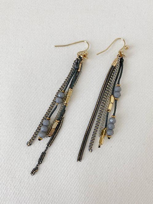 Boucles d'oreille Caracol, Chaînes colorées et perles, Gris et or, 2366-GRY