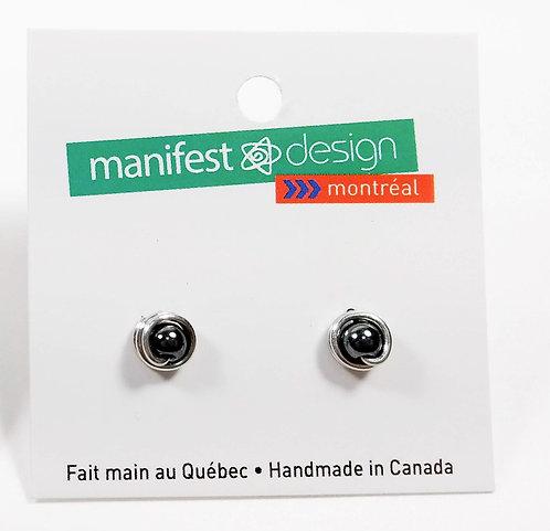 Boucles d'oreille Manifest Design: perle gris hématite 6mm