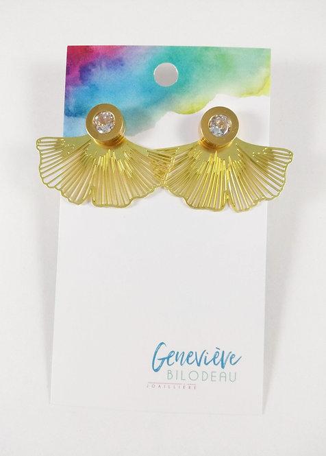 Boucles d'oreille GB Joaillière, 2 en 1, Cristal et éventail, Or