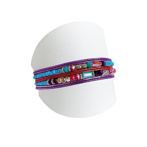 Bracelet Caracol, multi-chaîne et bille, Multicolore #3311-MIX