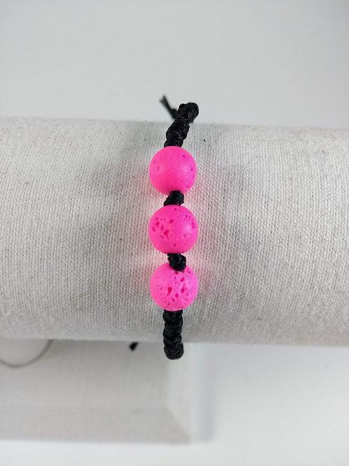 Bracelet ajustable, Pierre volcanique diffuseur d'huiles essentielles, Rose