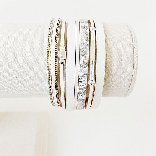 Bracelet Caracol, Cuir avec bille métal, Blanc-beige, 3137-BLK