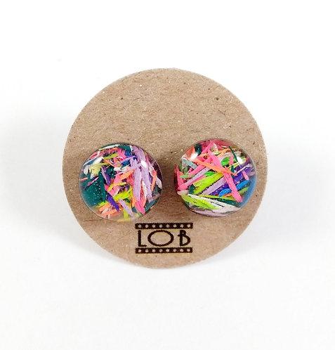 Boucles d'oreille LOB-crayons recyclés (Multicolore #4)