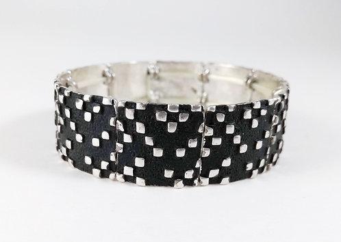 Bracelet Spoutnik élastique, Carré noir et argent