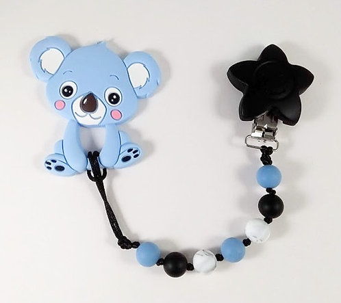 Attache à suce et jouet de dentition, Koala bleu, Étoile noire