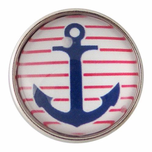 Bouton pression (snap) Nomaad Interchangeable, Ancre bateau marine et rouge