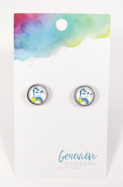 Boucles d'oreille GB Joaillière, 10mm, Licorne arc-en-ciel étoile, Acier inox