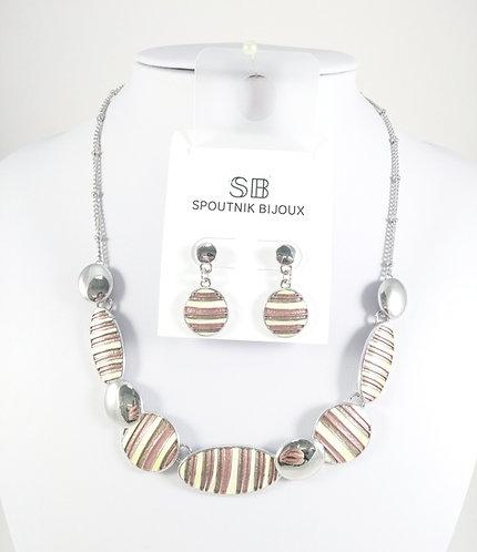 Ensemble collier et boucles d'oreille Spoutnik, Ovale lignée brun/taupe