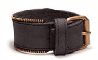 Bracelet pour Homme, cuir noir, Zipper