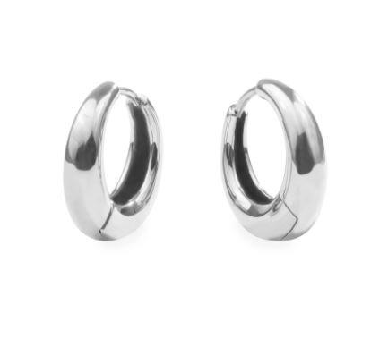 Boucles d'oreilles anneaux gonflées, Acier inoxydable, Argenté