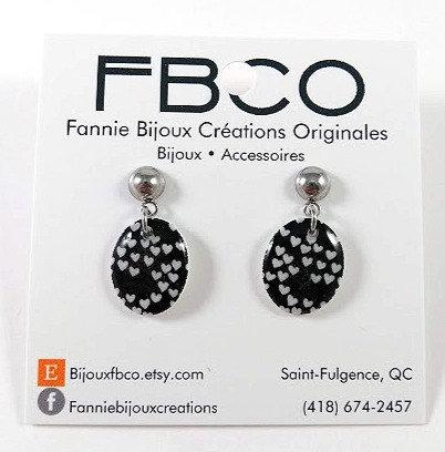 Boucles d'oreille FBCO ''Suzie'' Coeur, noir