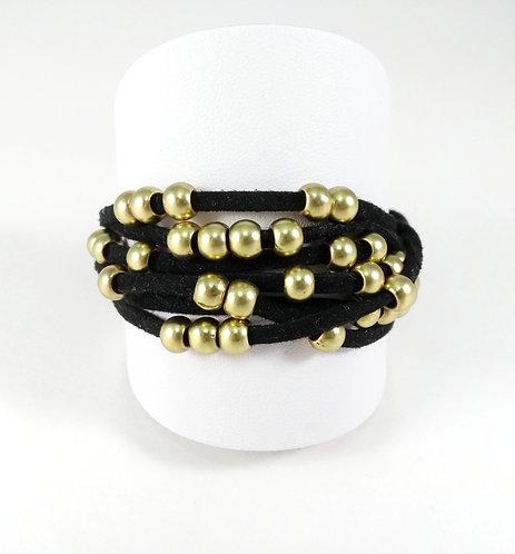 Bracelet Caracol, Bandes de cordons de suède, noir, bille or