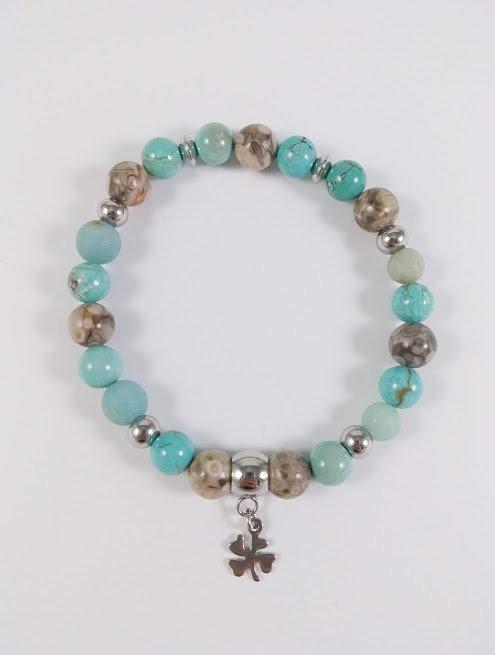 Bracelet #43 Turquoise et Agate fossile
