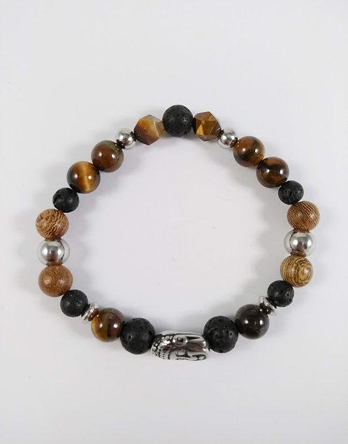 Bracelet #28 Oeil de tigre et pierre volcanique (tête de Bouddha)