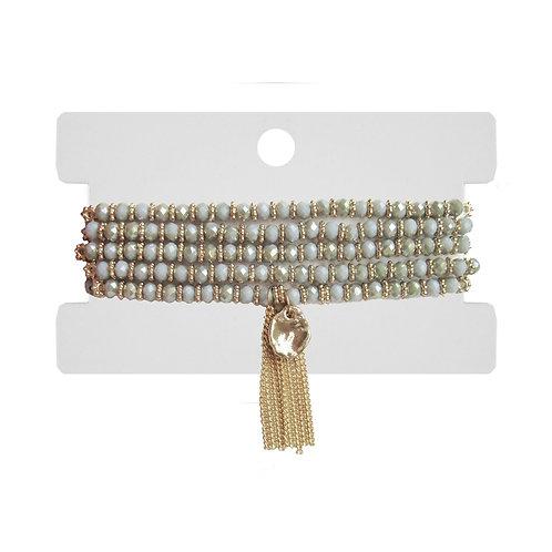 Bracelet ou Collier (2 en 1) Caracol, billes grises, Or, 3132-GRY