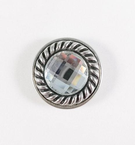 Bouton pression (snap) Nomaad Interchangeable, Cristal contour cordon argent
