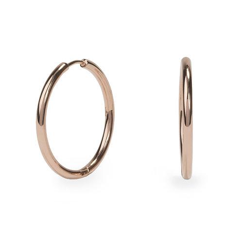 Boucles oreilles anneaux unies 30mm, Acier inoxydable, Or rose