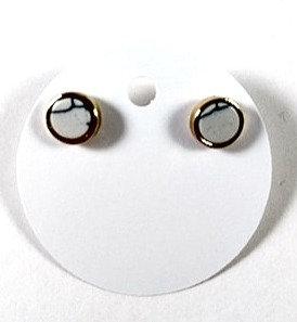 Boucles d'oreille Spounik: Petit cercle gris effet marbre, or