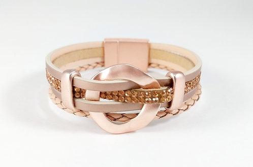 Bracelet cuirette beige-rose, Bande cristal doré, Or rose