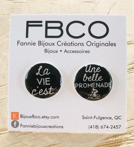 Boucles d'oreille FBCO ''La vie c'est une belle promenade (vélo)''