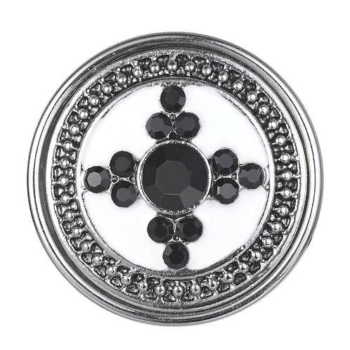 Bouton pression (snap) Nomaad Interchangeable, Cristaux noirs sur fond blanc