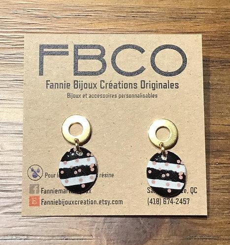 Boucles d'oreille FBCO ''Suzie'' Ligné noir et blanc