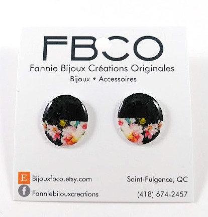 Boucles d'oreille FBCO ''Chikie noir, motif fleur colorée''