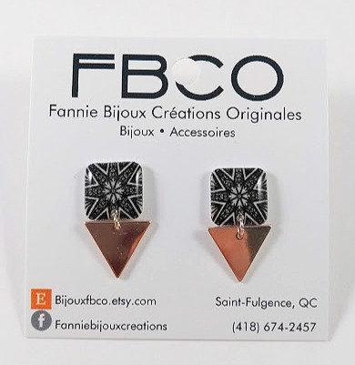 Boucles d'oreille FBCO ''Lustra'' Noir et blanc