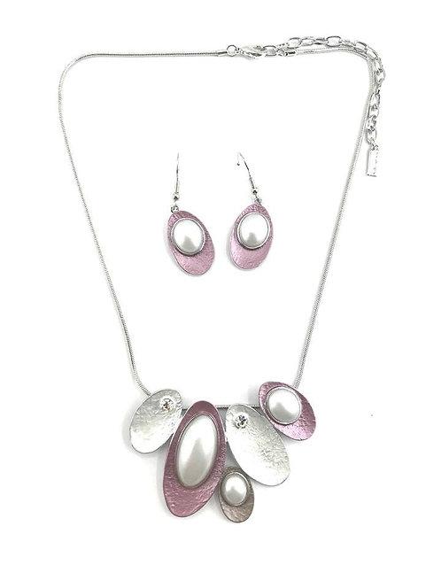 Ensemble collier et boucles d'oreille Spoutnik, Ovale rose et perle, argent